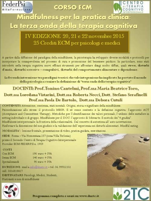 locandina mindfulness per la pratica clinica 4 edizione